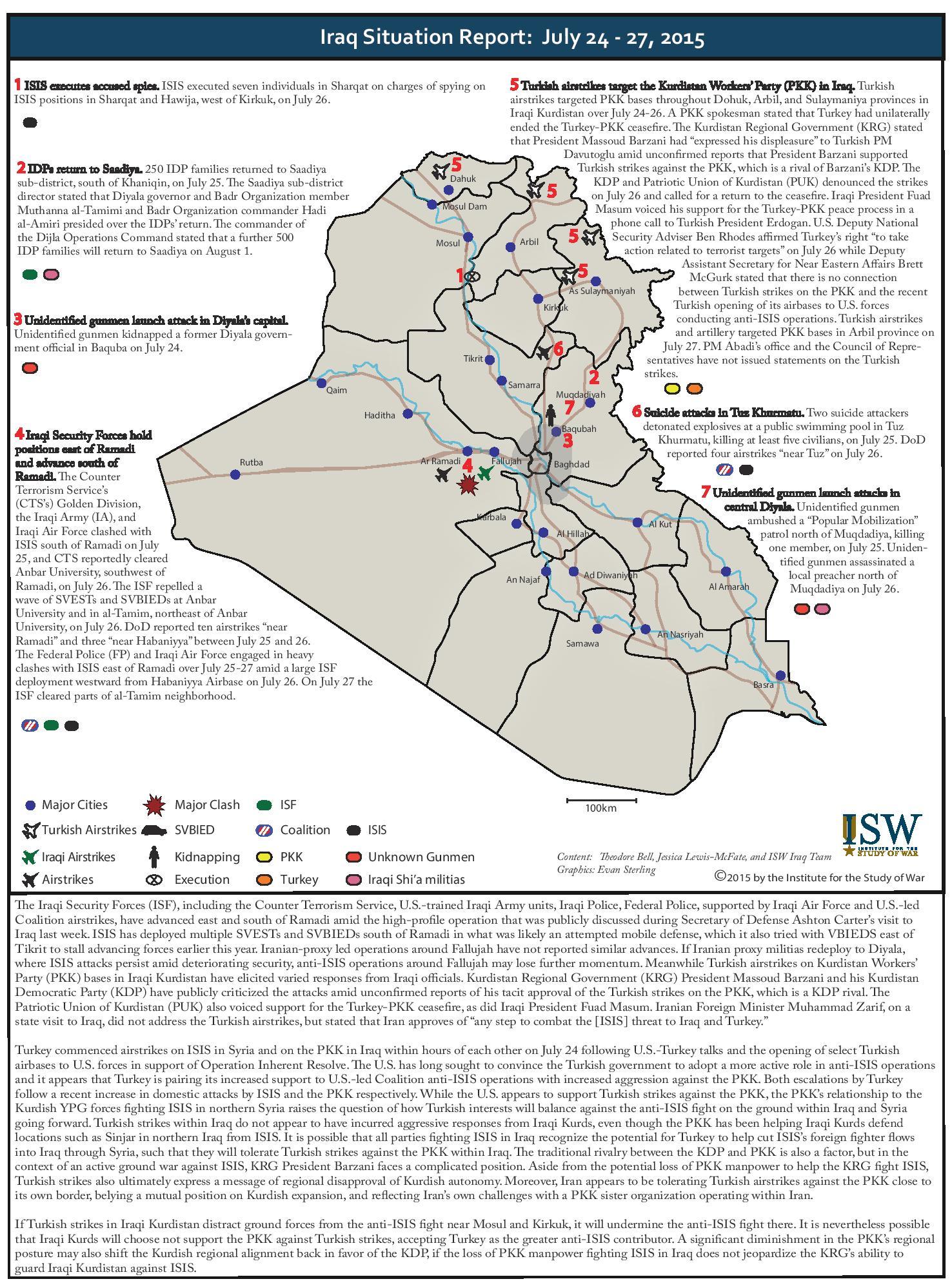 تقرير يكشف الوضع في العراق خلال الفترة 24-27 تموز/2015