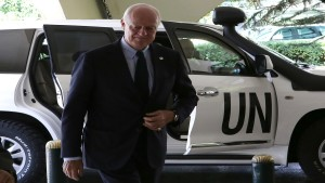 United Nations (UN) special envoy for Syria, Staffan de Mistura, arrives for meetings in Damascus on June 16, 2015. Mistura is in the Syrian capital for talks with President Bashar al-Assad's government in a fresh bid to resolve the country's four-year war. AFP PHOTO / LOUAI BESHARA