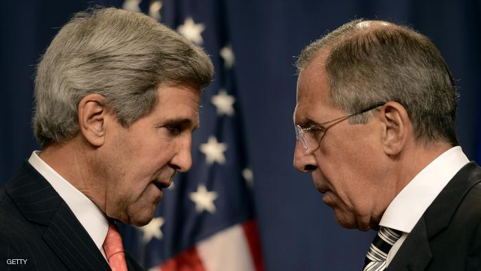 US Secretary of State John Kerry (L) speaks with Russian Foreign Minister Sergey Lavrov (R) before a press conference in Geneva on September 14, 2013 after they met for talks on Syria's chemical weapons. Washington and Moscow have agreed a deal to eliminate Syria's chemical weapons, Kerry said after talks with Lavrov. AFP PHOTO/PHILIPPE DESMAZES        (Photo credit should read PHILIPPE DESMAZES/AFP/Getty Images)