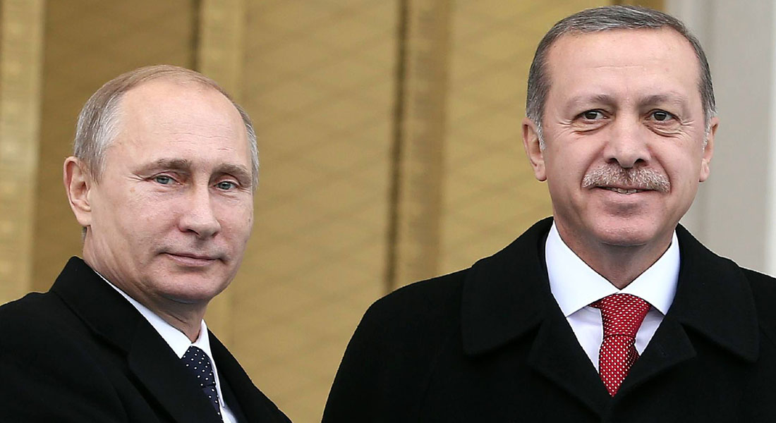 Russian President Vladimir Putin (L) shakes hands with his Turkish counterpart Recep Tayyip Erdogan on December 1, 2014  at the entrance of the new presidential palace outside Ankara. Putin is on a one-day state visit to Turkey.                        AFP PHOTO/ADEM ALTAN        (Photo credit should read ADEM ALTAN/AFP/Getty Images)