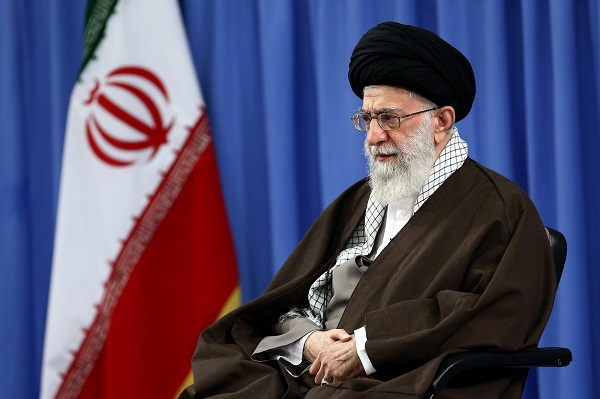 "In this Wednesday, Nov. 25, 2015 photo released by an official website of the office of the Iranian supreme leader, Supreme Leader Ayatollah Ali Khamenei attends a meeting with commanders of paramilitary division of the elite Revolutionary Guard in Tehran. Iran's top leader says the United States is using ""money and sex"" to try to infiltrate the Islamic Republic and warns Iranians not to fall into the ""enemy's trap."" (Office of the Iranian Supreme Leader via AP)"