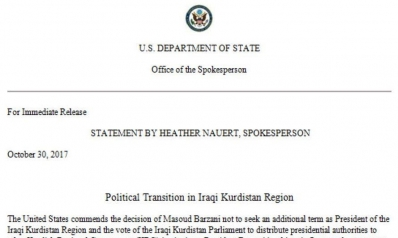 US Department of State: Political Transition in Iraqi Kurdistan Region