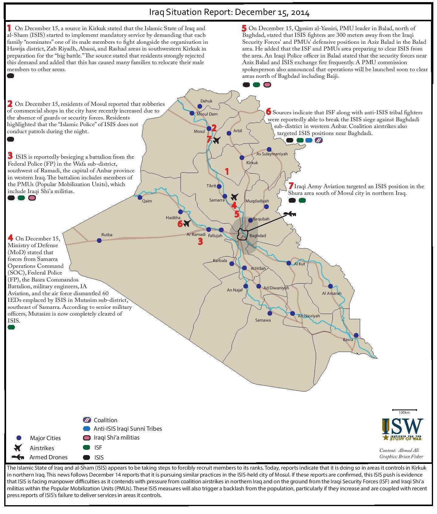 تقرير يكشف اوضاع العراق يوم 15 كانون الاول/ديسمبر 2014
