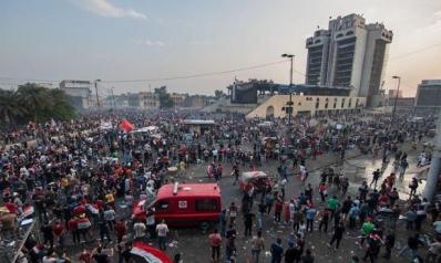 """""""جبل أحد بغداد""""… مبنى يتنافس المتظاهرون وقوات الأمن للسيطرة عليه"""