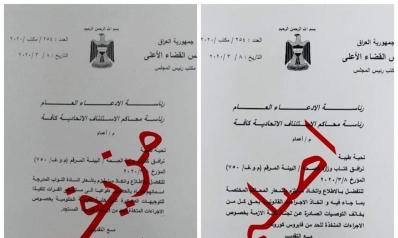 تزوير وثيقة موقعة من قبل رئيس مجلس القضاء الأعلى بشأن إجراءات خلية الأزمة الخاصة بمواجهة كورونا