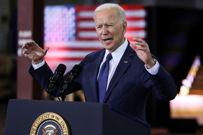 U.S. President Joe Biden speaks about his $2 trillion infrastructure plan during an event to tout the plan at Carpenters Pittsburgh Training Center in Pittsburgh, Pennsylvania, U.S., March 31, 2021. REUTERS/Jonathan Ernst